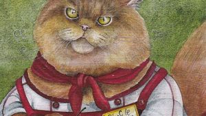 Drawing Of A Cat Eating Rare Anthropomorphous Confectioner Cat by Plovetskaya Russian Modern
