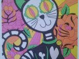 Drawing Of A Dead Cat Sugar Skull Cat Day Of the Dead Cat with Roses 8×10 Print Dia De