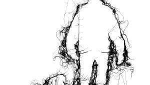 Drawing Of A Dog From Behind Adrienne Wood Thread Drawing Man Walking Dog In Black Thread On