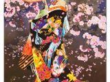 Drawing Of A Geisha Girl Geisha Girl Holding Umbrella Cherry Blossoms Color Art Geisha