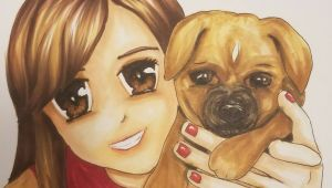 Drawing Of A Girl and Dog Anime Girl and Dog Copic and Prismacolor Markers Brown Anime Eyes