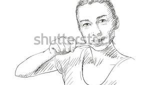 Drawing Of A Girl Brushing Her Teeth Yooung Woman Brushing Her Teeth Vector Sketch Hand Drawn