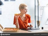 Drawing Of A Girl Eating Pizza Smiling Female Freelancer Eating Pizza Drawing Graphic Tablet Home