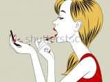 Drawing Of A Girl Holding A Mirror Vintage Hand Mirror Vectors Download Free Vector Art Stock