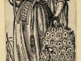 Drawing Of A Girl Holding A Mirror Wl Female Figure with A Mirror and Peacock Flames Rising at Her