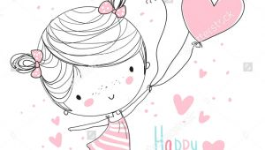 Drawing Of A Girl Holding Balloons Girl Holding Balloons Happy Birthday Couple Things Pinterest