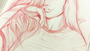 Drawing Of A Girl Holding Her Hair Pin Od Zuzia Na Drawings Drawings Art Drawings I Art