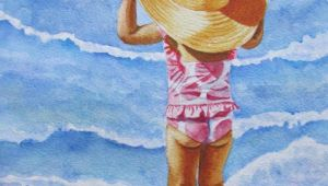 Drawing Of A Girl On the Beach Beach Girl Watercolor Painting Beach Girl Print Girl Nursery Decor