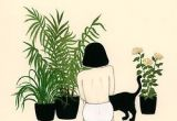 Drawing Of A Girl Planting Girl Plants and A Cat Art Illustration Drawings Art