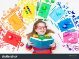 Drawing Of A Girl Studying Little Girl School Supplies Books Drawing Stock Photo Edit now