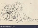 Drawing Of A Girl Studying Women On the Beach south Coast Of England C1950 Shirley Markham