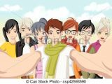 Drawing Of A Girl Taking A Selfie Group Of Cartoon Young People Taking Selfie Photo Picture Of Manga
