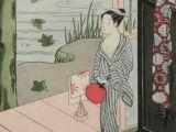 Drawing Of A Girl Watering Plants Harunobu Suzuki Girl by Veranda Late 1760s Color Woodcut Print