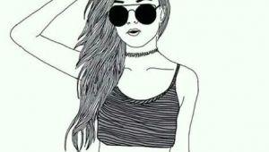 Drawing Of A Girl Wearing Nike Girl Croptop Choker Sunglasses Drawing Art Draw Pinterest