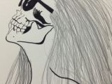Drawing Of A Girl with A Hat On My Skull Girl Drawing Girl Drawings Drawings Und Skull