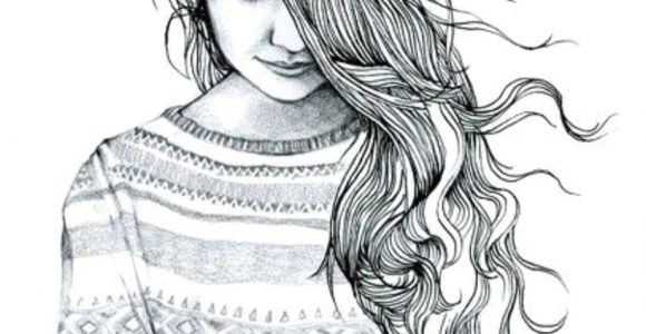 Drawing Of A Girl with Long Wavy Hair Girl with Hair Covering Half Her Face Art In 2019 Drawings Art