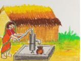 Drawing Of A Girl Youtube How to Draw A Village Scenery Of Woman Taking Water From Tube Well
