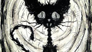 Drawing Of A Halloween Cat Print 8×10 Black Cat 2 Halloween Cats Stray Spooky Alley Dark