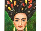 Drawing Of A Mexican Girl Frida Kahlo original Painting Frida Kahlo Portrait original Etsy