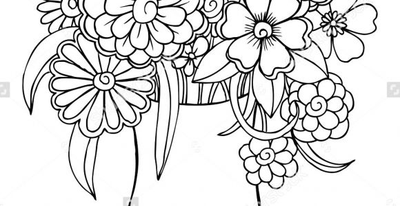 Drawing Of A Rose Bouquet Vector Bouquet Of Flowers In A Vase Art Draw Flowers and Plants