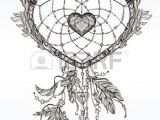 Drawing Of A Tribal Heart Hand Drawn Romantic Drawing Of A Heart Shaped Dream Catcher