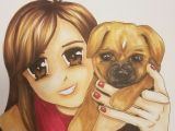 Drawing Of An Anime Dog Anime Girl and Dog Copic and Prismacolor Markers Brown Anime Eyes