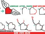 Drawing Of An Heart How to Draw Heart with Wings From Lowercase Letter R Shapes Easy