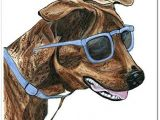 Drawing Of Dog Wearing Sunglasses Brindle Dog In Blue Sunglasses Watercolor Art Print Unframed 8 X 10