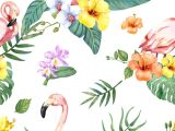 Drawing Of Exotic Flowers Hand Drawn Flamingo Bird with Tropical Flowers Premium Image by