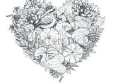 Drawing Of Flower Composition Floral Heart Bouquet Composition with Hand Drawn Flowers Plants