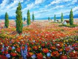 Drawing Of Flower Scenery Flowers Oil Painting the Field Of Red Poppies Palette Knife