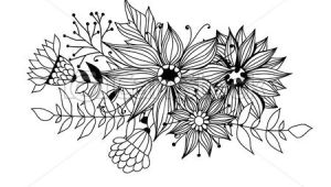 Drawing Of Flowers and Leaves Doodle Bouquet Od Flowers and Leaves On White Background Template