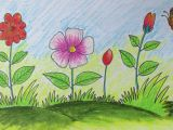 Drawing Of Flowers with Birds How to Draw A Scenery with Flowers for Kids Long Version Youtube