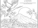 Drawing Of Flowers with Birds Japanese Landscape with Mount Fuji and Tradition Flowers and