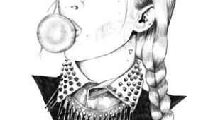 Drawing Of Girl Blowing A Kiss Drawing Of A Girl with A Braid Blowing A Bubble with Bubble Gum Art