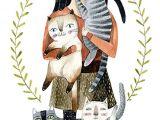 Drawing Of Girl Holding Cat 2041 Best Art Images On Pinterest Cat Illustrations Cute Kittens