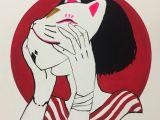 Drawing Of Girl Holding Cat Cat Mask Girl Drawing In 2019 Drawings Art Art Drawings
