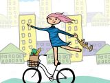 Drawing Of Girl Holding Cat Girl with A Cat On A Bicycle Stock Vector Illustration Of