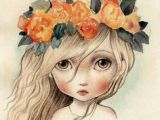 Drawing Of Girl Holding Her Hair 193 Best Girl Woman with Flowers Images Artist Paintings Pictures