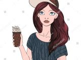 Drawing Of Girl Holding Her Hair Young Girl Holding Cup Coffee Hot Stock Illustration 733541341