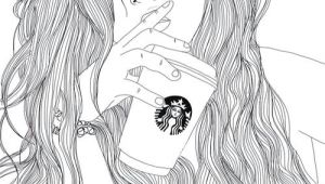 Drawing Of Girl In Black and White Art Black White Drawing Girl Outlines Starbucks Image