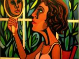 Drawing Of Girl Looking In Mirror Faith Ringgold American People Series 16 Woman Looking In A