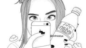 Drawing Of Girl Thinking Thinking Girl Tumblroutlines Outlines Tumblr Outline Drawings