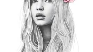 Drawing Of Girl with Flower Crown Gigi Hadid Flower Crown Fashion Illustration Portrait Colored