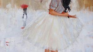 Drawing Of Girl with Umbrella Another Splash Painting by Laura Lee Zanghetti Laura Zanghetti