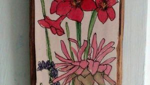 Drawing Of Hanging Flowers Pink Flower Watercolor Illustration On Wood Drawing Botanical Garden