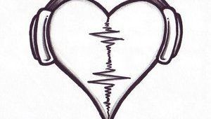 Drawing Of Heart with Headphones Audio Heart This One Will Be Mine One Day Tattoo Love Drawings