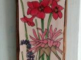 Drawing Of Purple Flowers Pink Flower Watercolor Illustration On Wood Drawing Botanical Garden