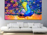 Drawing On Canvas Easy Colored Drawing Peacock Bedroom Wall Art Decor Unframed