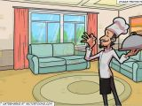 Drawing Room Cartoon Images A Chef Holding A Tray and A Small Living Room Background Clipart